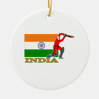 India Cricket Player Christmas Ornament