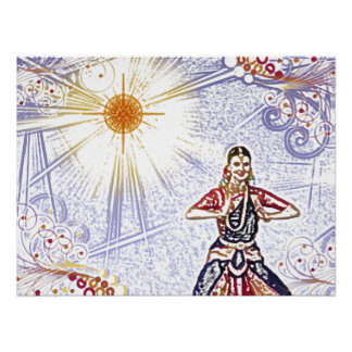 India Dancer with Sun (colored pencil) Posters
