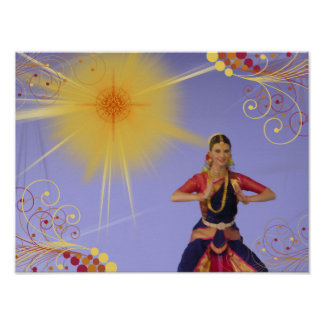 India Dancer with Sun (paint) Poster