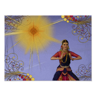 India Dancer with Sun (pop art) Poster
