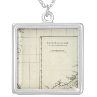 India Engraved Map Silver Plated Necklace