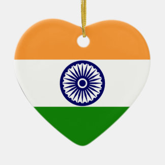 India Flag Heart Christmas Ornament