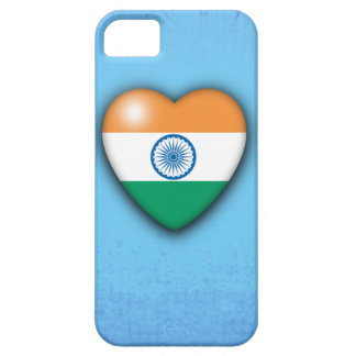 India Flag Heart pale blue background iphone Case For The iPhone 5