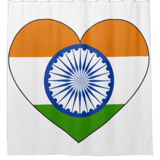 India Flag Heart Shower Curtain