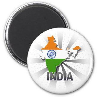 India Flag Map 2.0 6 Cm Round Magnet