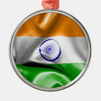 India Flag Silver-Colored Round Decoration