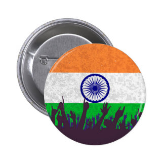 India Flag with Audience 6 Cm Round Badge
