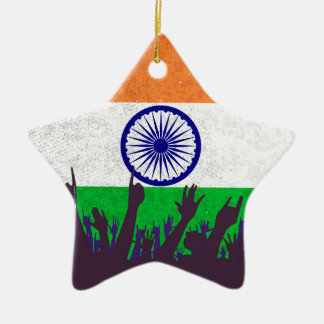 India Flag with Audience Ceramic Star Decoration