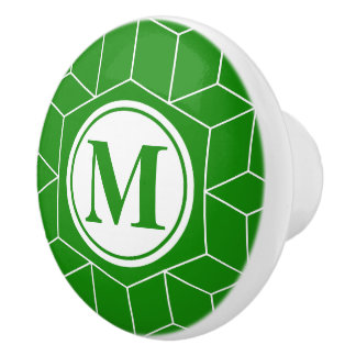 India Green Geometric and Monogrammed Pattern Ceramic Knob