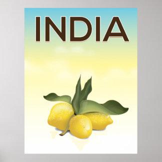 India Lemon travel poster
