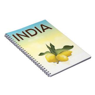 India Lemon travel poster Notebooks