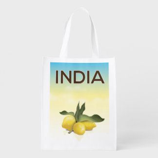 India Lemon travel poster Reusable Grocery Bag