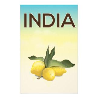 India Lemon travel poster Stationery