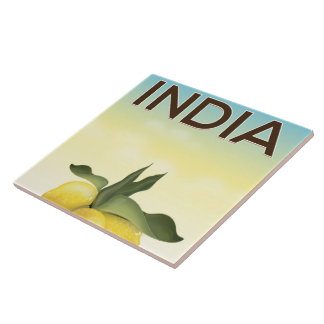 India Lemon travel poster Tile