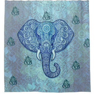 India lord-Ganesh-Elephant art Shower Curtain