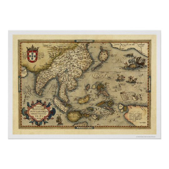 India Map By Ortelius 1570 Poster