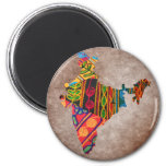 India Map Indian Embroidery 6 Cm Round Magnet