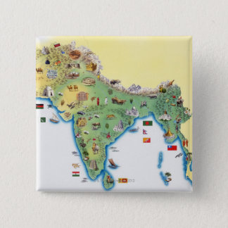 India, map with illustrations showing 15 cm square badge