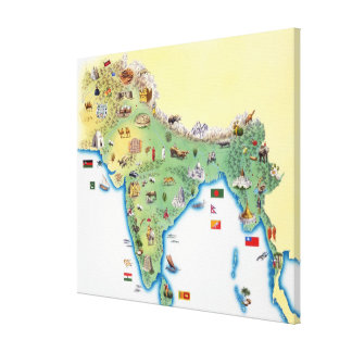 India, map with illustrations showing canvas print
