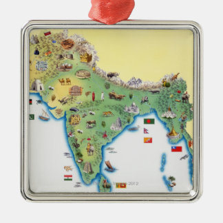 India, map with illustrations showing christmas ornament