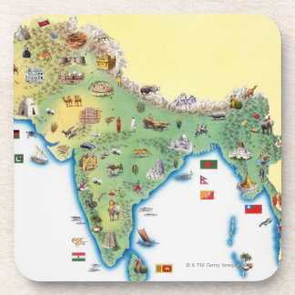 India, map with illustrations showing coaster