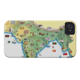 India, map with illustrations showing iPhone 4 Case-Mate case