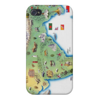 India, map with illustrations showing iPhone 4 cases