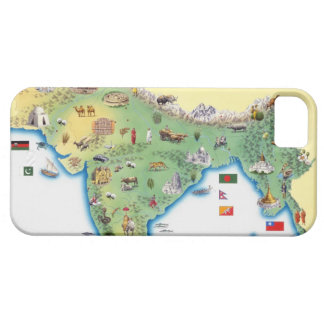 India, map with illustrations showing iPhone 5 cover