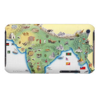 India, map with illustrations showing iPod touch cover