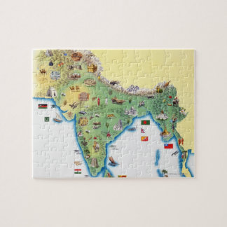 India, map with illustrations showing jigsaw puzzle