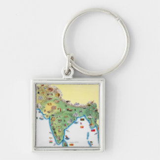 India, map with illustrations showing key ring