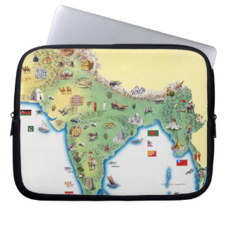India, map with illustrations showing laptop sleeves