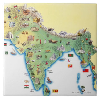 India, map with illustrations showing large square tile
