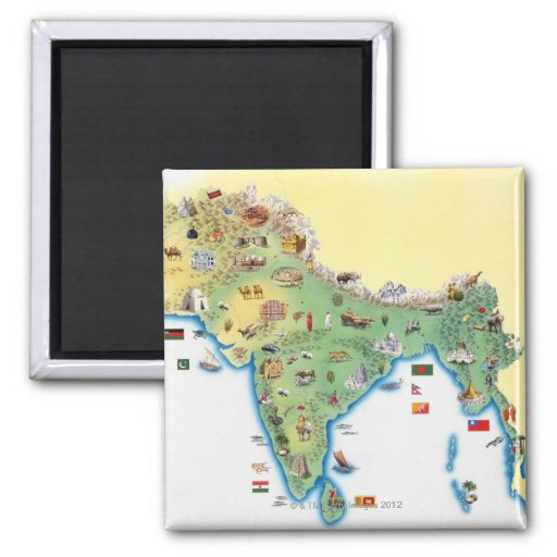 India, map with illustrations showing magnets