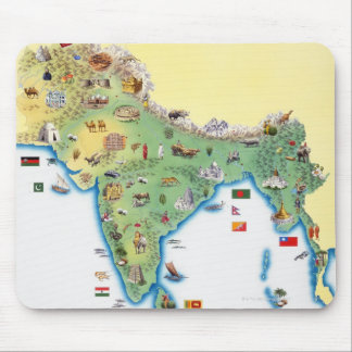 India, map with illustrations showing mouse mat