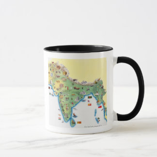 India, map with illustrations showing mug