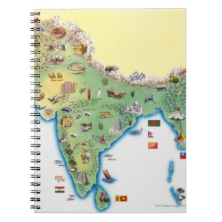 India, map with illustrations showing notebook