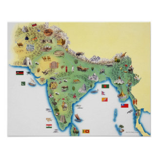 India, map with illustrations showing poster