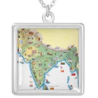 India, map with illustrations showing silver plated necklace