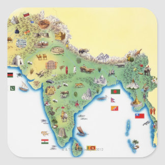 India, map with illustrations showing square sticker