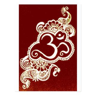 India mehndi red henna postcard
