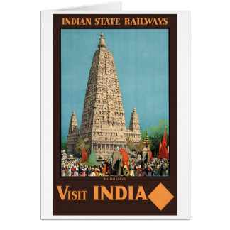 India Railways Vintage Travel Poster Restored Card