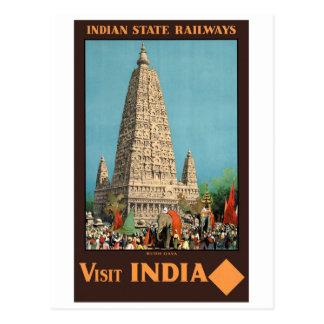 India Railways Vintage Travel Poster Restored Postcard