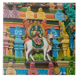 INDIA, Tamil Nadu, Chennai: Kapaleeshwarar Large Square Tile