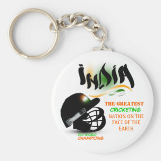 India The Greatest Cricket Nation on Earth Keychai Basic Round Button Key Ring
