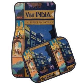 India Travel Poster collage car floor mats