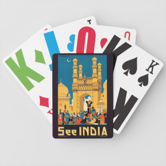India Travel Poster playing cards