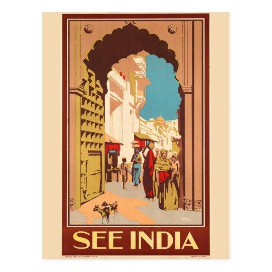 India Travel Poster postcard