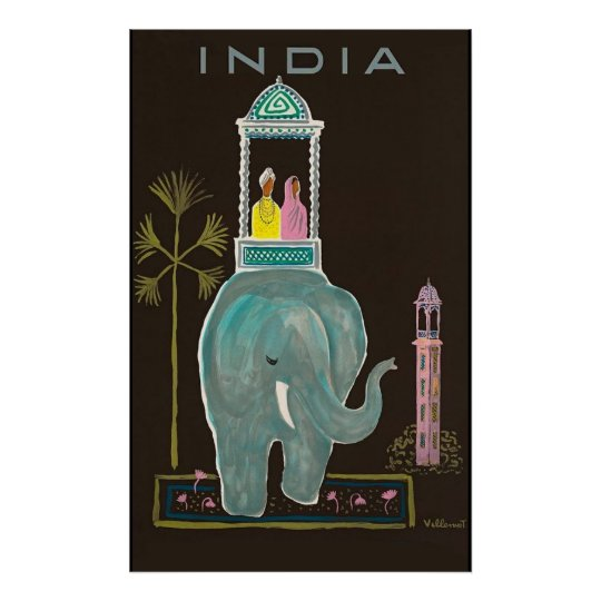 India travel poster vintage