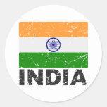 India Vintage Flag Round Sticker